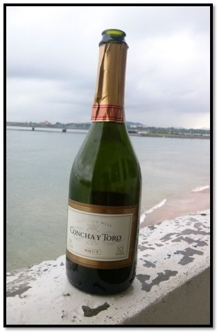 Some bubbly on the balcony of Casco Antiguo Spanish School overlooking the Pacific Ocean.