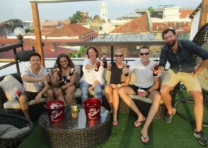 Students Enjoying a Cold Panamanian Beer at Rooftop Bar 1 block from the school in Casco Viejo