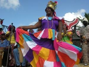 """Woman dancing Congo in the """"Festival of Diablos y Congos"""""""